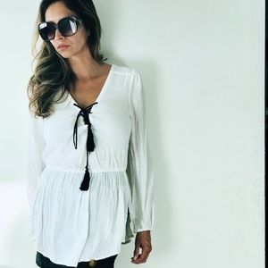 Free people white and black lace up blouse